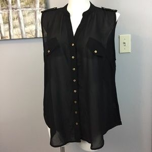 Fashion to Figure Sheer Black Button Down Tank 3X